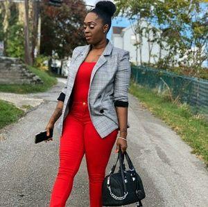 Jackets & Blazers - Plaid Black White Checkered Blazer